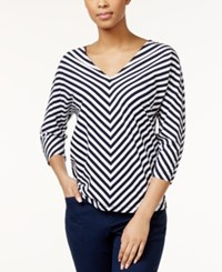 American Living Striped V Neck Dolman Sleeve Top