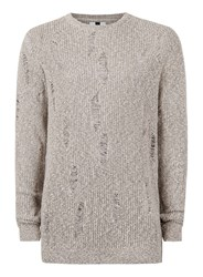 Topman Stone Twist Ripped Slim Fit Sweater
