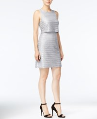 Kensie Eyelet Lace Popover Sheath Dress Grey Dusk Combo