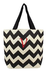 Cathy's Concepts Personalized Chevron Print Jute Tote Grey Black Parchment V