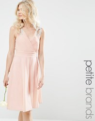 Tfnc Petite Prom Midi Dress With Embellished Shoulders Nude Pink