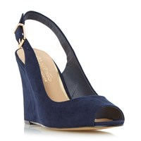 Head Over Heels Keeki Peep Toe Slingback Wedge Sandal Navy