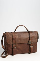 Men's Frye 'Logan' Leather Flap Briefcase Brown Cognac