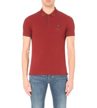 Armani Jeans Slim Fit Striped Trim Stretch Cotton Polo Shirt Bordeaux