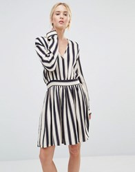 Gestuz Philla Striped Mini Dress With Deep V Neck Stripe Black