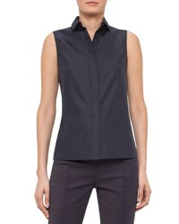 Akris Punto Sleeveless Blouse W Eyelet Back Navy