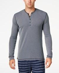 Kenneth Cole Reaction Men's Ribbed Henley Sleep Shirt Navy