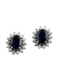 Effy Gemma Sapphire Diamond And 14K White Gold Earrings 0.69Tcw Black