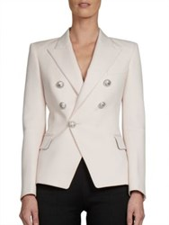 Balmain Double Breasted Wool Jacket White Pink