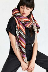 Urban Outfitters Striped Blanket Scarf Purple