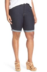 Plus Size Women's Nydj 'Briella' Stretch Roll Cuff Denim Shorts Dark