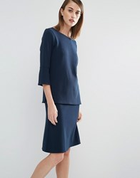 Selected Inca Sweat Top With Flared Sleeves Navy