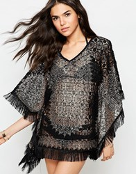 Anmol Crochet Beach Cover Up With Metallic Print Black Gold
