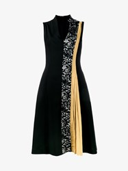 Creatures Of The Wind A Line Wool Dress With Lace Front Black Cream Mustard