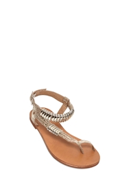Carvela Kurt Geiger Jeweled And Embossed Faux Leather Sandals Gold