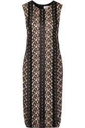 Prabal Gurung Satin Trimmed Lace And Silk Chiffon Dress Black