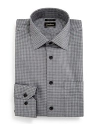 Neiman Marcus Trim Fit Non Iron Check Pattern Dress Shirt Black
