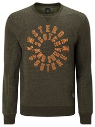 Scotch And Soda Branded Crew Neck Jumper Army Melange