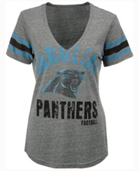 G3 Sports Women's Carolina Panthers Any Sunday Rhinestone T Shirt Gray