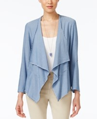Karen Kane Tab Sleeve Draped Jacket Blue