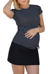 Women's Mermaid Maternity Short Sleeve Maternity Rashguard Black W White Polka Dots