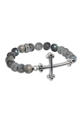 King Baby Studio Sterling Silver Cross Charm Labradorite Bead Stretch Bracelet Gray