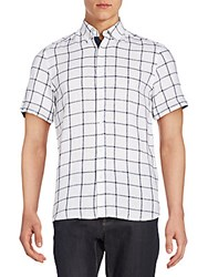 Report Collection Windowpane Check Linen And Cotton Short Sleeve Shirt White