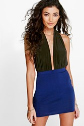 Boohoo Colour Block Bodycon Mini Skirt Indigo