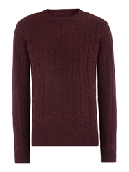 Howick Andover Cable Crew Neck Claret