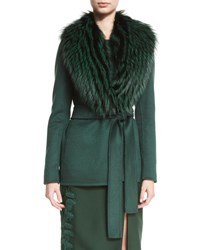 J. Mendel Fur Trimmed Wrap Coat Spruce