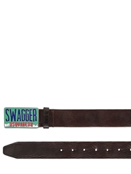 Dsquared 40Mm Swagger Buckle Leather Belt Dark Brown