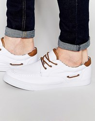 Asos Boat Shoes In White Canvas White
