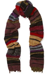 Etro Striped Wool Blend Scarf Burgundy
