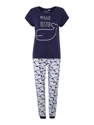 Therapy Whale Print Mixed Fabric Cuffed Pant And T Shirt Blue