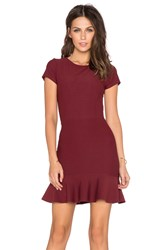 Donna Mizani Cap Sleeve Ruffle Mini Dress Wine
