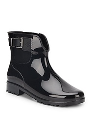 Dav Chicago Patent Rain Booties Black