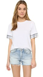 Clu Too Contrast Sleeve T Shirt White Navy