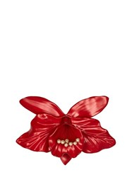 Gucci Flower Resin And Metal Brooch Red