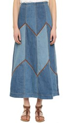 Free People Bliss Made Denim Maxi Skirt Denim Blue