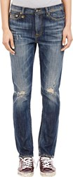 R 13 R13 Slouch Skinny Shredded Jeans Blue