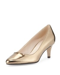 Cole Haan Lena Ii Patent Low Heel Pump Gold Metallic