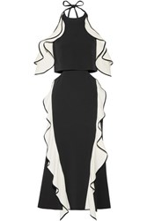 Jonathan Simkhai Cutout Ruffled Crepe Halterneck Midi Dress Black