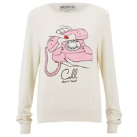 Wildfox Couture Wildfox Women's Call Don't Text Baggy Beach Sweatshirt Vintage Lace White