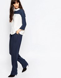 Just Female Gibbs Loose Pant In Blue 376 Blue White