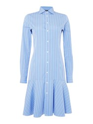 Polo Ralph Lauren Alexis Long Sleeve Stripe Shirt Dress Blue
