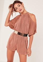 Missguided Pink Cold Shoulder Ruched Waist Slinky Playsuit