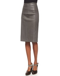 Brunello Cucinelli Seamed Leather Pencil Skirt Gray