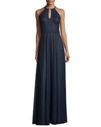 Phoebe Couture Halter Striped A Line Gown Navy
