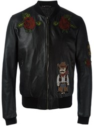 Dolce And Gabbana Western Patch Bomber Jacket Black