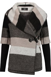 Line Blossom Striped Wool Blend Felt Coat Dark Gray